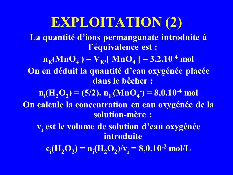 EXPLOITATION (2) La quantité d'ions permanganate introduite à l'équivalence est : nE(MnO4-) = VE.[ MnO4-] = 3,2.10-4 mol.